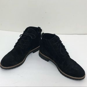 Franco sarto black lace up suede ankle boots